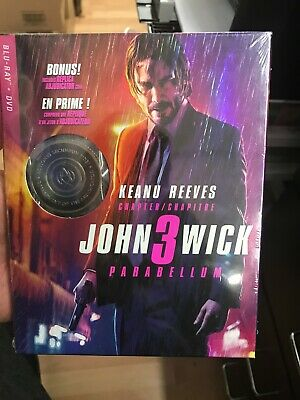 John Wick Chapter 3 Parabellum Adjudicator Coin Set BLU RAY + DVD +HD+ SLIPCOVER