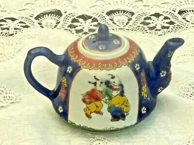 Antique Collectable Hand Crafted Enamelled Underglaze Family Rose Teapot China