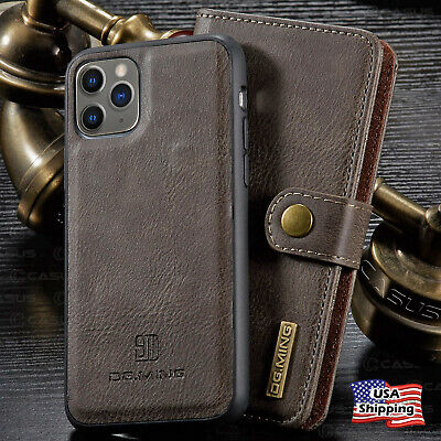 For iPhone 11/11 PRO MAX Leather Removable Wallet Magnetic Flip Card Case Cover