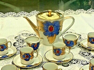 Hand Crafted 24 Carat Gold Enamelled & Jewelled 12 Persons Coffee Set  Bavaria