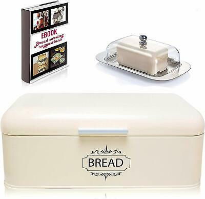 Vintage Bread Box For Kitchen Stainless Steel Metal in Retro Cream Off White