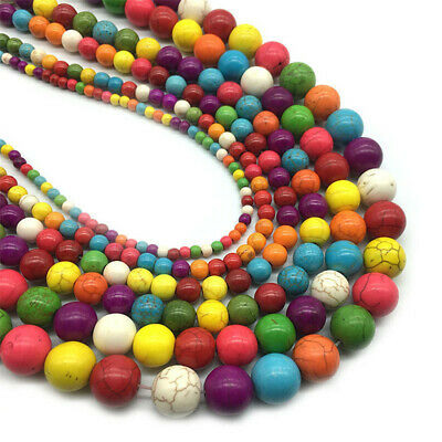 4-12mm Round Color Turquoise Loose Beads Diy Accessories Shining Gemstone Stone