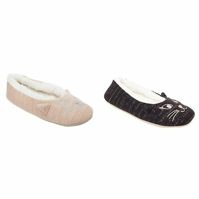 X2046 EAZE LADIES FLEECE LINED CAT NOVELTY LOUNGE INDOOR WARM BALLERINA SLIPPERS