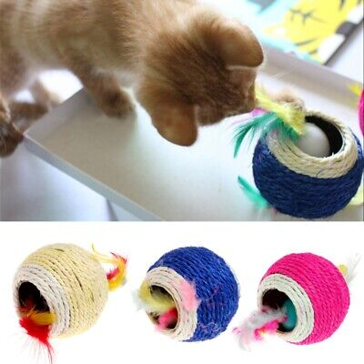 Sisal Rope Feather Ball Teaser Scratch Chew Play Toy Pet Kitten Cat Interactive
