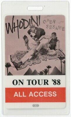 Whodini authentic 1988 concert Laminated Backstage Pass Open Sesame Tour AA