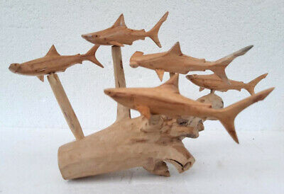 Hand Carved Hammer Head Shark Shoal Carving Wooden Shark carvings on Root Wood