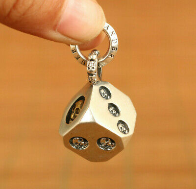 Chinese 925 silver hand carving dice Statue pendant noble gift key ring