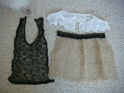2 x Vintage Lace Collars & 1 x Lace & Jet / Beaded Fichu