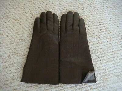 Chocolate Brown Leather Gloves with Real Fur Lining Size 7
