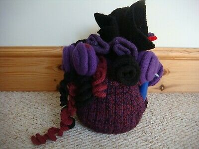 Fabulous Large Hand Knitted Purple & Black Floral Tea Cosy