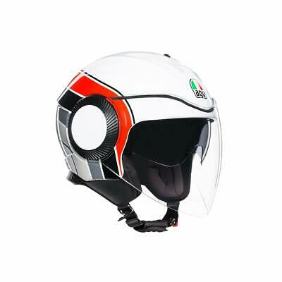 Helm Demi-Jet agv Orbyt Brera White - Grey - Red Größe XL