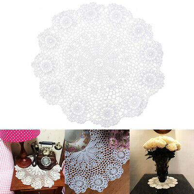 White Round Pure Cotton Hand Crochet Floral Lace Doily Placemat Table Mat UK