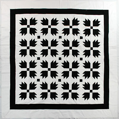 Black & White Bear Paw QUILT TOP - Patchwork traditional creation
