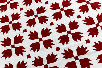 Red and White Bear Paw QUILT TOP - Patchwork traditional creation