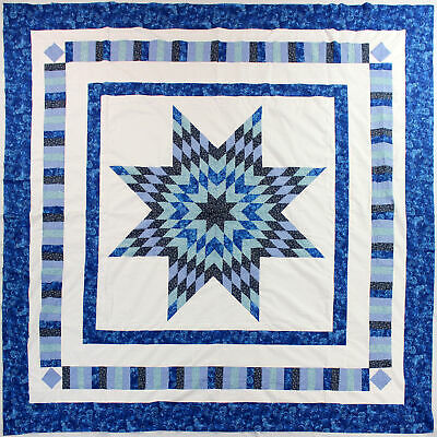 Patchwork Blue and White - Lone Star - QUILT TOP - Queen size masterpiece