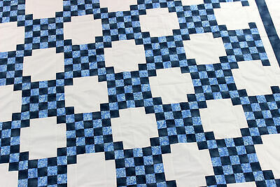 Blue & White Double Irish Chain - Best Seller QUILT TOP Very Traditional design