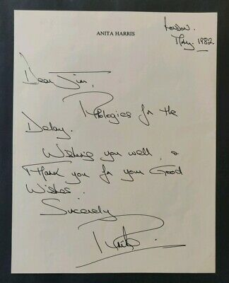 Anita Harris Handwritten Signed Letter With COA - 1982