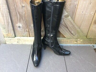 """Lotus Black Pvc Glossy Zip Up Knee High Boots 3"""" Heels,6Uk(Faux Patent Leather)"""