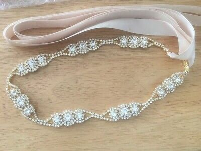 Crystal In Gold Colour Setting ✨Diamante Ivory Belt Sash 💍 Bridal Accessory