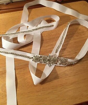 Handmade One Of A Kind White Ribbon Belt Heavy Crystals