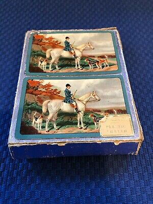Vintage Canasta Double Deck of Playing Cards Jockey on Horse with 3 hunting dogs