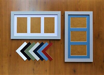 """Brushed White Finish Photo//Picture Frame with Triple 7x5//5x7/""""Aperture Mount"""