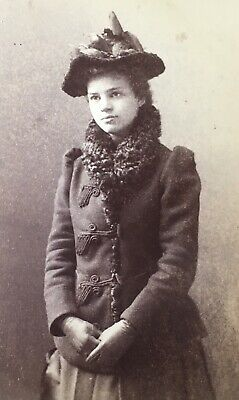 c1880's Elegant Young Lady Fancy Coat Hat CABINET CARD PHOTO Williamsport Pa