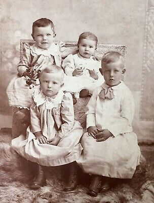 1880's FIVE YOUNG BROTHERS IN GOWNS CABINET CARD PHOTO Council Grove Kansas