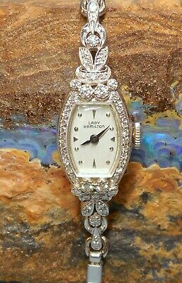 Vintage 48 Diamond 14k White Gold Deco Lady Hamilton Ladies Cocktail Wrist Watch