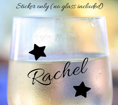 Wine drinks glass personalised stars vinyl sticker various colours rose gold