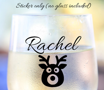 Wine drinks glass personalised christmas vinyl sticker various colours rose gold