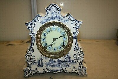 Antique Ansonia Porcelain Mantel Clock with Dutch Countryside Scene, Blue 1882