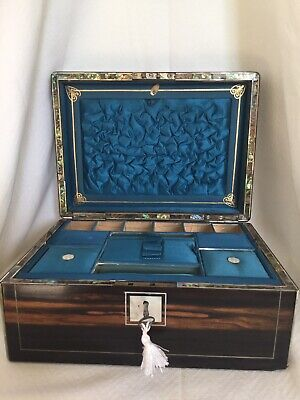 Antique Coromandel Sewing or Jewellery Box. Beautiful Fitted Interior with Pearl