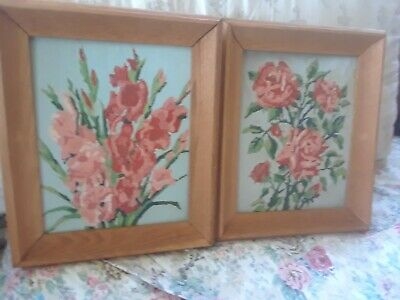 Vintage Paint by Number Completed Pair Set Lot of 2 Oak Framed Roses Gladiolas