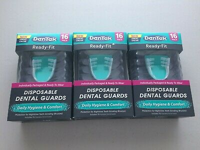 3 Boxes Dentek Ready-Fit Disposable Dental Guards 16 Guards Per Box