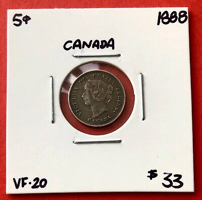 1888 Canada Silver Five 5 Cent Coin - $33 VF-20