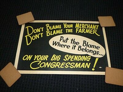 Vtg Antique Political Poster Big Spending Congressman Populist View 22x14