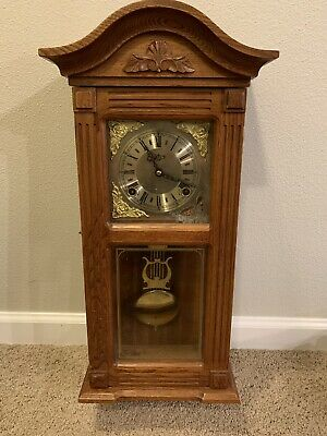 "25 1/2"" D & A  wood wind up wall clock As-Is"