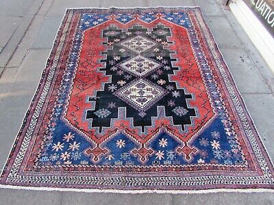 Antique Vintage Hand Made Traditional Rug Oriental Wool Blue Red Rug 211x160cm