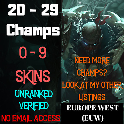 League Of Legends 20-29 Champs Account LOL Euw Smurf Skins BE Unranked Level 30