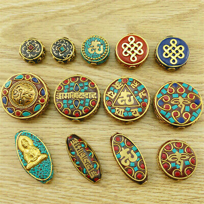 1Pcs Handmade Nepal Brass Inlay Loose Beads Spacer Jewelry Opaque Making Styles