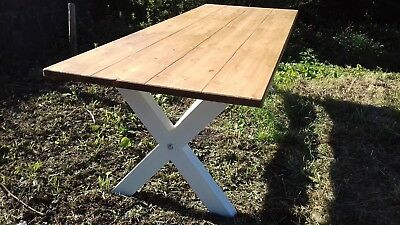 x base rustic pine farmhouse table 8 foot by 3 foot 10/12 seater