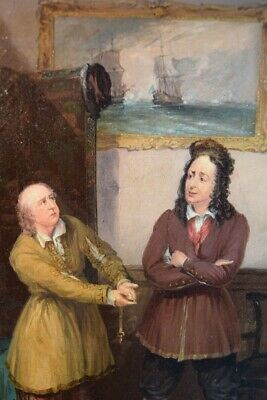 Early 19th Century English Oil Painting of Two Men in an Interior