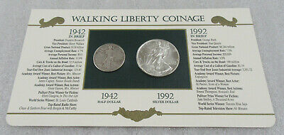 1942 & 1992 Walking Liberty * Year Set- 1 oz. Silver Eagle & Silver Half Dollar