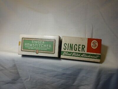 Singer Hemstitcher & Singer Blind Stitch Attachment W/Boxes/Papers