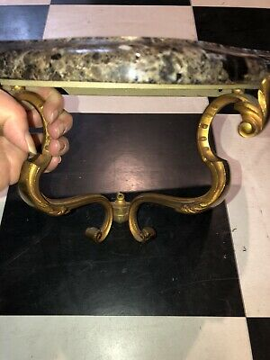 Antique French Bronze & Marble Wall Bracket Shelf