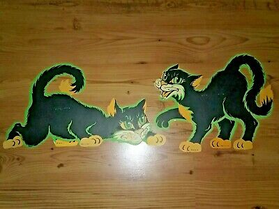 """2 Vintage Halloween Decorations - """"Sneaky Looking Cats""""  -  15"""" X 8 1/2"""""""