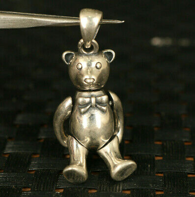 rare 100% 925 silver hand carving bear Statue pendant noble gift key ring