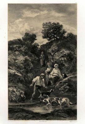 The Last Beaux Days Dogs - Lithography Original François Louis French