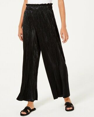 Be Bop Juniors Pleated Metallic Pants Shimmer Crinkle Wide Leg Black Small S